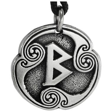 Beorc Berkanan Rune of Rebirth Talisman Pewter Pendant Necklace