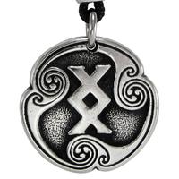 Ingwaz Inguz Rune of Completion Talisman Pewter Pendant Necklace