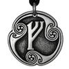 Fehu Rune of Prosperity Talisman Pewter Pendant Necklace