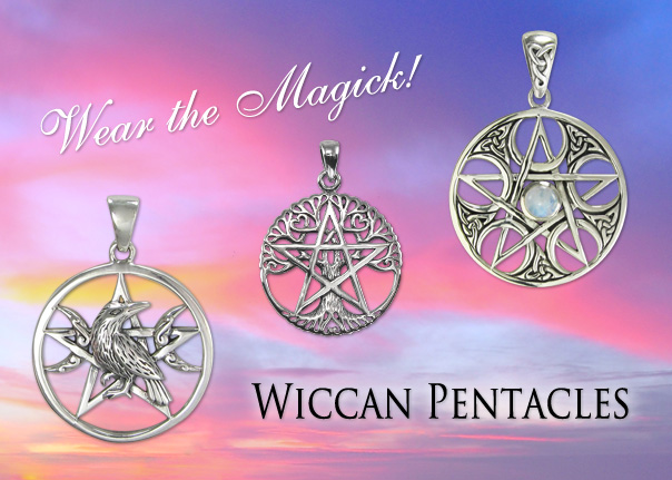 Wiccan Pentacle Pendants and Pentagram Jewelry
