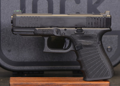 Wilson Combat Glock 19 Gen 4 9mm, Package 2,wilson combat glock, custom glock, stippled glock, plastic fantastic, custom guns for sale, custom glocks for sale, wilson glock for sale, wilson glock package 2 for sale, custom stippled gun, custom glock trigger, slide cuts, custom polymer gun.