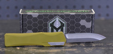 """Heretic Knives Cleric Clip Point OTF Automatic Knife Green Handle, 3.5"""" Stonewash Blade"""