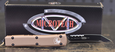 Microtech Ultratech Tanto Black Partial Serrated Blade and Tan Handle