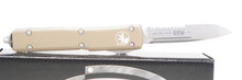 "Microtech Ultratech S/E OTF Automatic Knife Tan Handle 3.4"" Stonewash Partial Serrated Blade"