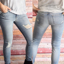 Light Wash Semi-Distressed Skinny Jeans
