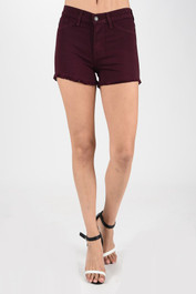 Burgundy Shorts W. Unfinished Hem