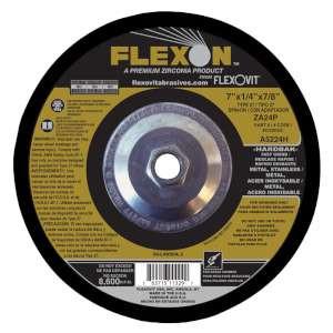 "FLEXON by Flexovit A5224H 7""x1/4""x5/8-11 ZA24P   -  FAST GRIND Depressed Center Grinding Wheel"