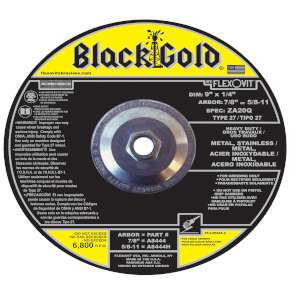 "BLACK GOLD by Flexovit A8444H 9""x1/4""x5/8-11 ZA20Q   -  HEAVY DUTY Depressed Center Grinding Wheel"