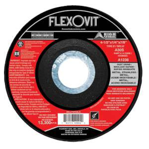 "HIGH PERFORMANCE by Flexovit A1236 4-1/2""x1/4""x7/8"" A30S  -  FAST GRIND Depressed Center Grinding Wheel"