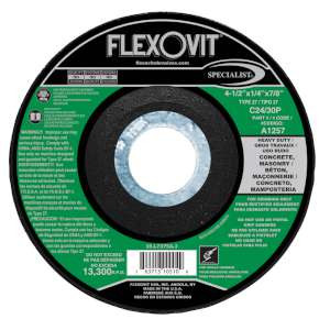 "SPECIALIST by Flexovit A1257 4-1/2""x1/4""x7/8"" C24/30P  -  HEAVY DUTY Depressed Center Grinding Wheel"