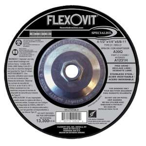 """SPECIALIST by Flexovit A1231H 4-1/2""""x1/4""""x5/8-11 A30Q  -  FREE GRIND Depressed Center Grinding Wheel"""