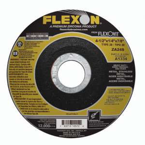 """FLEXON by Flexovit A1334 4-1/2""""x1/4""""x7/8"""" ZA24S  -  HEAVY DUTY Depressed Center Grinding Wheel"""