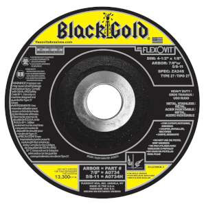 "BLACK GOLD by Flexovit A0734 4-1/2""x1/8""x7/8"" ZA24S  -  HEAVY DUTY Depressed Center Combination Wheel"