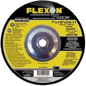 "FLEXON by Flexovit A4414H 7""x1/8""x5/8-11 ZA30T   -  SMOOTH GRIND Depressed Center Combination Wheel"