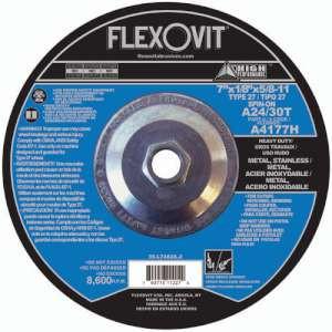 "HIGH PERFORMANCE by Flexovit A4177H 7""x1/8""x5/8-11 A24/30T  -  HEAVY DUTY Depressed Center Combination Wheel"