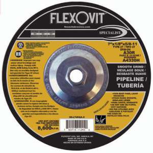 """SPECIALIST by Flexovit A4330H 7""""x1/8""""x5/8-11 A30R  -  SMOOTH GRIND Depressed Center Combination Wheel"""