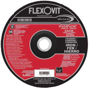 "SPECIALIST by Flexovit A7270 9""x1/8""x7/8"" CA24R  -  FOUNDRY Depressed Center Combination Wheel"