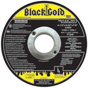 """BLACK GOLD by Flexovit F1246 4-1/2""""x3/32""""x7/8"""" A36U  -  HEAVY DUTY Reinforced Angle Grinder Cutoff Wheel"""