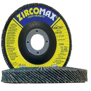 "ZIRCOMAX by Flexovit Z4507F 4-1/2""x7/8"" ZA60 FIBERGLASS BACKING PLATE  -  EXTRA LONG LIFE Flap Disc"