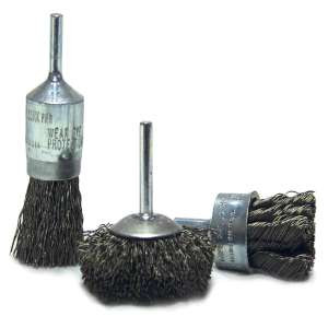 """HIGH PERFORMANCE by Flexovit C1780P 2-1/2""""x1/4"""" SHANK .014 CARBON CRIMPED; CIRCULAR Wire End Brush/Clamshell"""