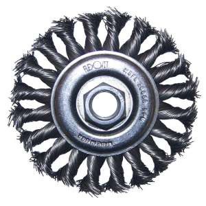 "HIGH PERFORMANCE by Flexovit C1280P 4""x3/8""x5/8-11 .020 CARBON KNOTTED; REGULAR TWIST Wire Wheel Brush/Clamshell"