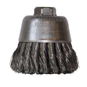 """HIGH PERFORMANCE by Flexovit C1630P 4""""x5/8-11 .020 CARBON KNOTTED Wire Cup Brush/Clamshell"""