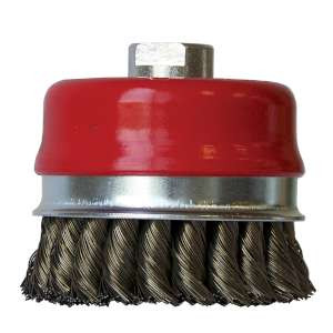 """HIGH PERFORMANCE by Flexovit C1632P 4""""x5/8-11 .020 CARBON KNOTTED Wire Cup Brush/Clamshell"""