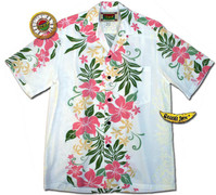 Waiamea White Men's Hawaiian Aloha Shirt