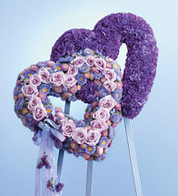 Blue & Lavender Standing Double Heart