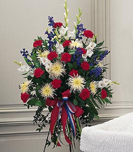 Patriotic Spirit Standing Funeral Spray