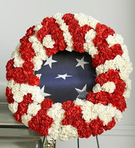 Red and White Patriotic Memorial Wreath