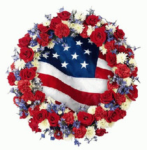 Stars & Stripes with White Carnations & Red Roses