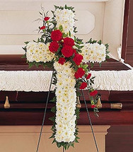 White Floral Cross With Red Carnation Cluster