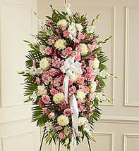Deepest Sympathy Pink & White Standing Spray