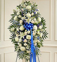 Deepest Sympathy Blue & White Standing Spray