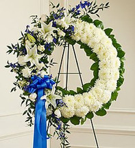 Serene Blessings Blue and White Standing Wreath