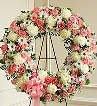 Serene Blessings Pink and White Standing Wreath