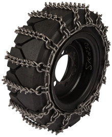 Quality Chain 1502STUDDED-2 8mm Premium Alloy Studded Link Skid Steer Tire Chains (2-Link Spacing)