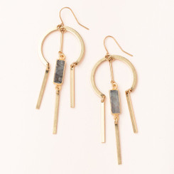 Dream Catcher Stone Earring - Labradorite/Gold