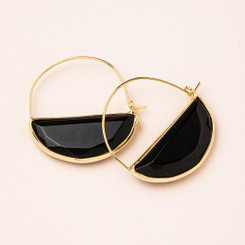 Stone Prism Hoop - Black Spinel/Gold