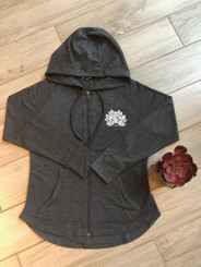 HeatLast Faux Cashmere Zip-Up w. Lotus & TLAW Logo - Gray