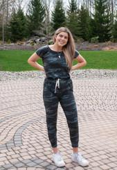 Elan - Black/Gray Camo Jumpsuit