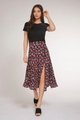 Dex - Red Bouquet Print Slit Skirt