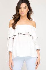 3/4 Sleeve Woven Off-The-Shoulder Top - Off White