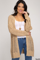 Long Sleeve Fishnet Knit Cardigan - Taupe