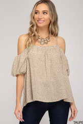Bubble Off-The-Shouder Top - Taupe
