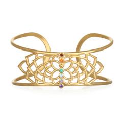Satya - Multi Stone Gold Chakra Cuff Adjustable
