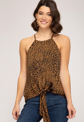 Animal Print Satin Cami Top w. Front Tie Detail