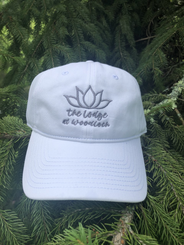 """The Game Hat w. """"Happy Place"""" on Back - White"""