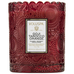 Scalloped Edge Embossed Candle - Goji Tarocco Orange